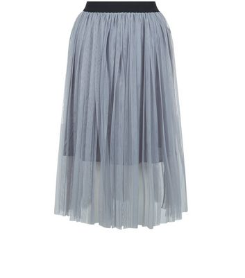 Product photo of Petite grey tulle midi skirt