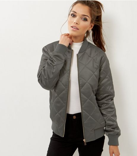 Tall Khaki Diamond Quilted Bomber Jacket | New Look