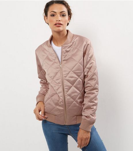 Tall Shell Pink Diamond Quilted Bomber Jacket | New Look