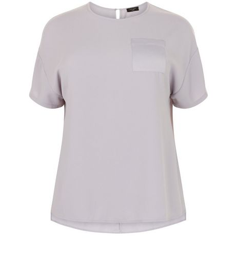 Curves Grey Satin Pocket Boxy T-Shirt | New Look