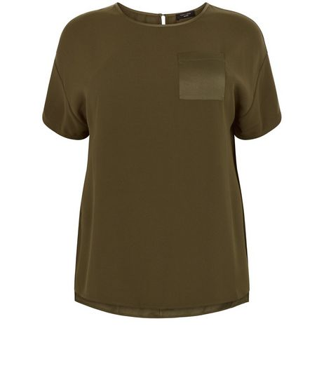 Curves Khaki Satin Pocket Boxy T-Shirt | New Look