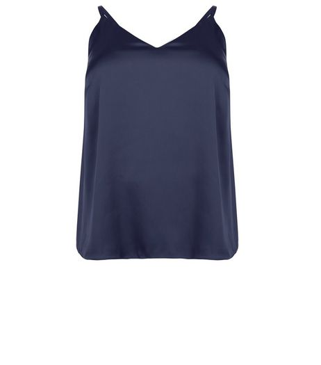 Curves Blue Sateen Cami Top | New Look