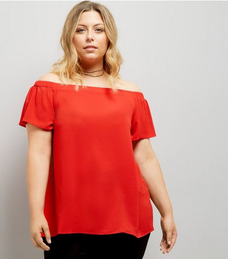 Curves Red Bardot Neck Top | New Look
