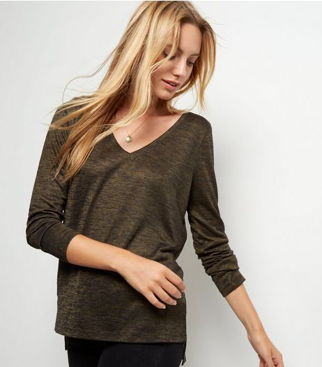 Khaki Fine Knit V Neck Long Sleeve Top  | New Look