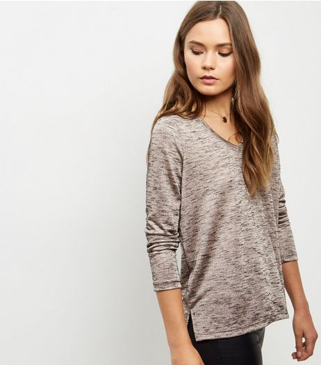 Shell Pink Fine Knit V Neck Long Sleeve Top  | New Look