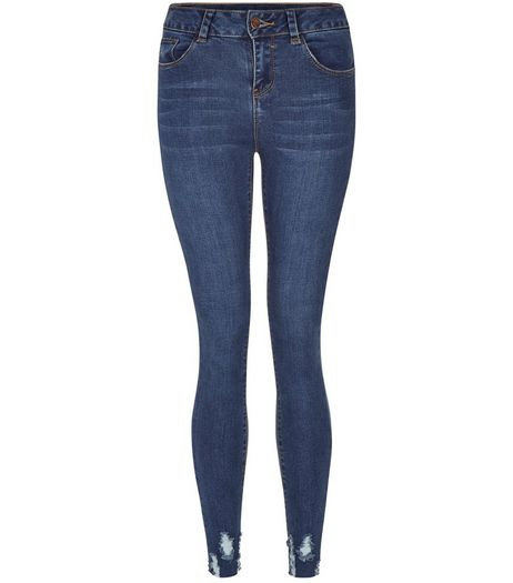 Teens Blue Frayed Hem Skinny Jeans | New Look