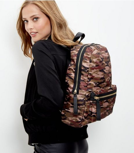 Khaki Camo Print Zip Pocket Front Backpack  | New Look