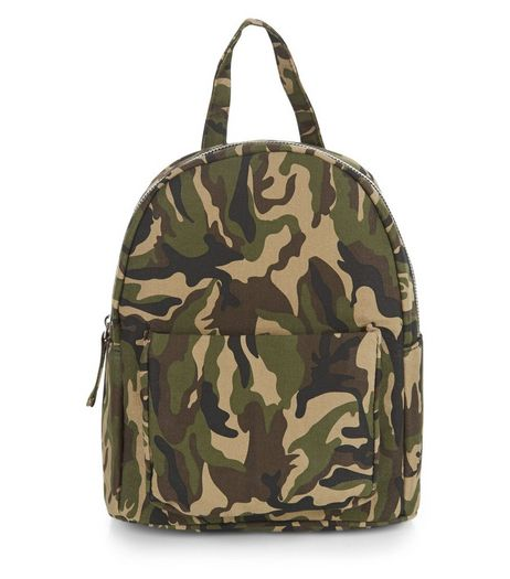 Khaki Camo Print Pocket Front Mini Backpack | New Look