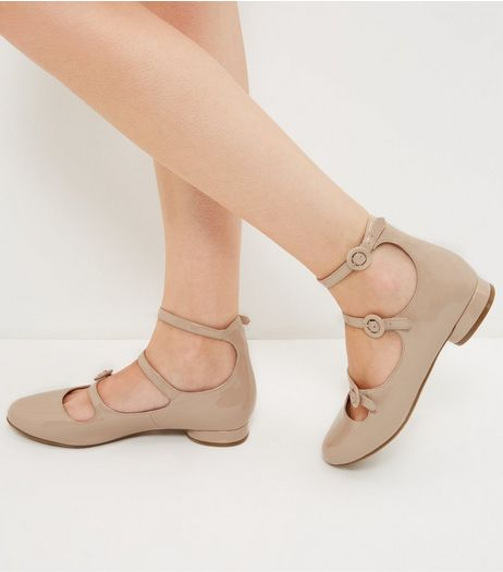 Cream Patent Multi Strap Pumps  | New Look