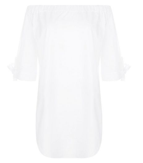 Loving This White Bardot Neck Tie Sleeve Tunic | New Look