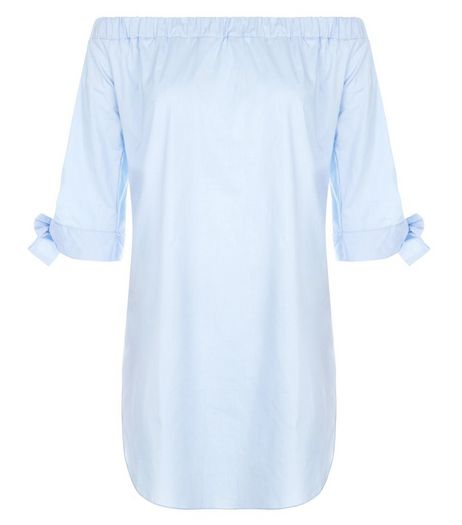 Loving This Blue Bardot Neck Tie Sleeve Tunic | New Look