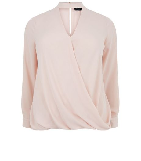 Curves Shell Pink Choker Wrap Top | New Look