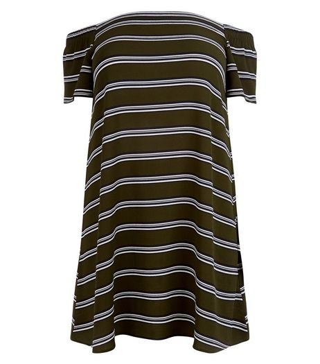 Curves Khaki Stripe Bardot Neck Dress | New Look
