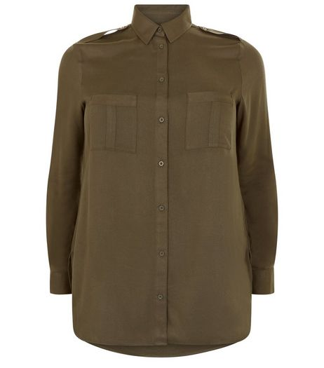 Curves Khaki Double Pocket Long Sleeve Shirt | New Look