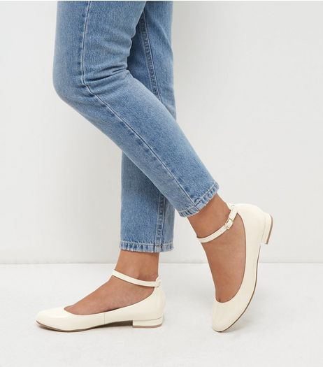 White Patent Ankle Strap Pumps | New Look