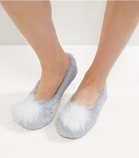 Grey Faux Fur Pom Pom Slippers | New Look