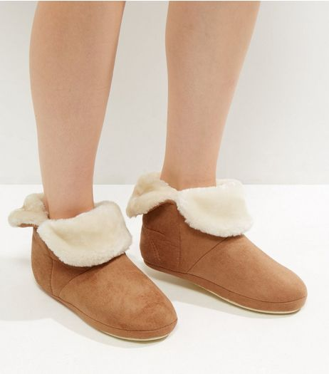 Tan Suedette Faux Fur Trim Slipper Boots | New Look