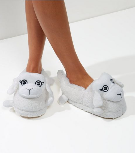 White Sheep Slippers | New Look