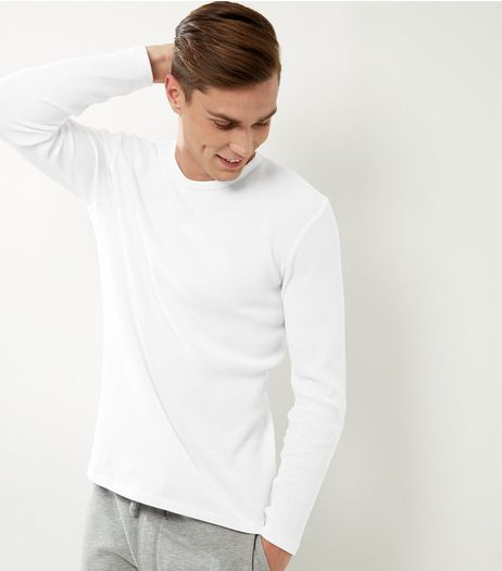 White Ribbed Crew Neck Long Sleeve T-shirt | New Look