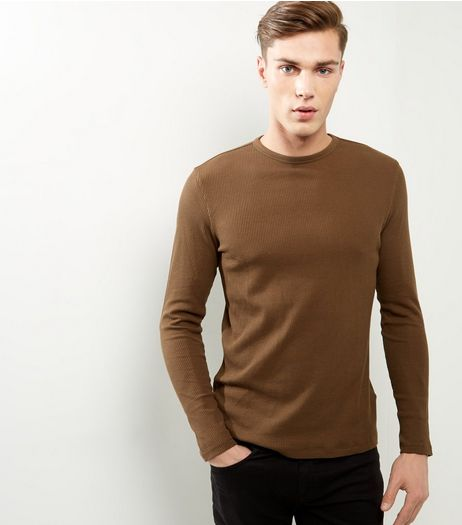 Khaki Ribbed Crew Neck Long Sleeve T-shirt | New Look