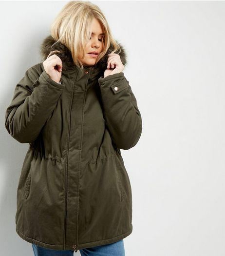Curves Khaki Faux Fur Trim Hooded Parka | New Look