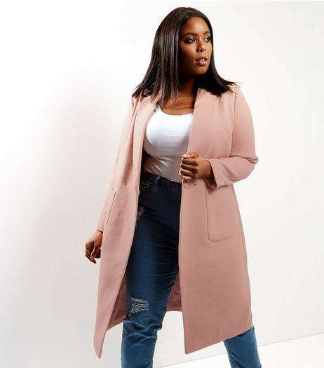 Curves Pink Double Pocket Maxi Coat | New Look