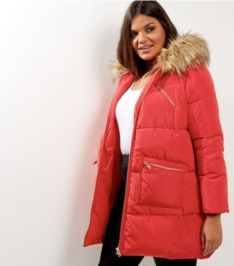 Curves Red Faux Fur Trim Quilted Puffer Jacket | New Look