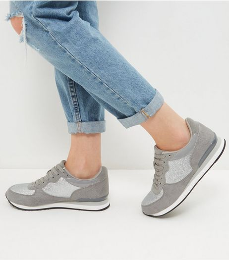 Grey Snakeskin Panel Trainers | New Look