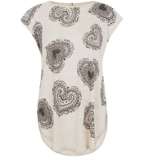 Blue Vanilla Stone Heart Print Oversized Top | New Look