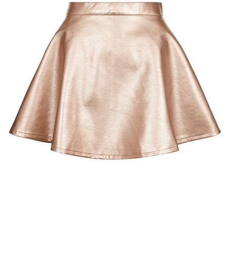 Teens Bronze Metallic Leather-Look Skater Skirt | New Look