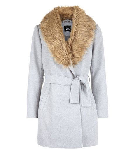 Teens Grey Wrap Front Faux Fur Collar Coat | New Look
