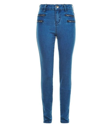 Teens Blue Denim Zip Front Skinny Jeans | New Look