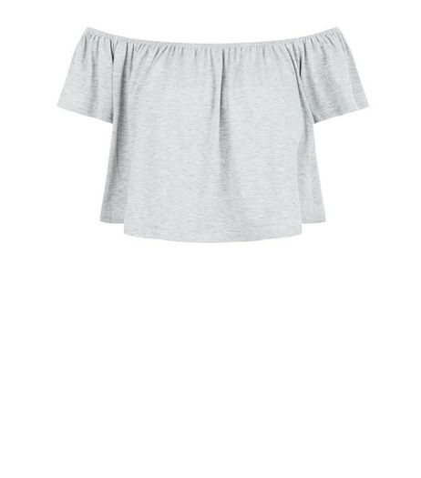 Blue Vanilla Grey Bardot Neck Crop Top | New Look