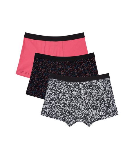 3 Pack Pink Abstract Print Boxer Briefs | New Look