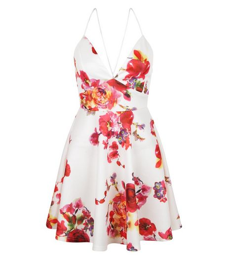 AX Paris White Floral Print Plunge Skater Dress | New Look