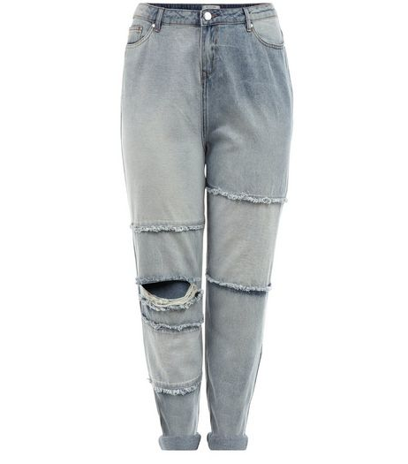 Curves Light Blue Ripped Knee Boyfriend Jeans | New Look