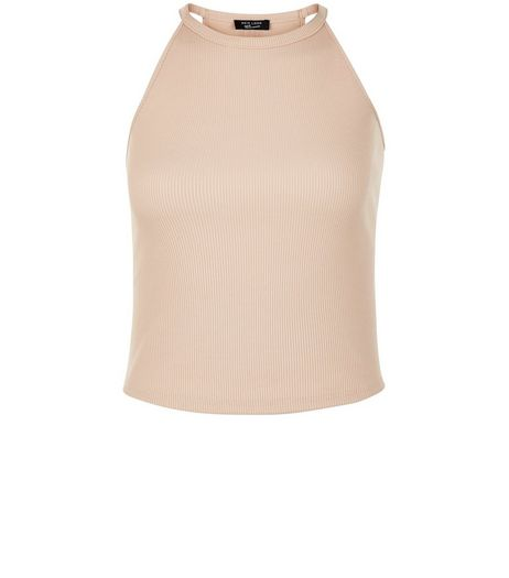 Teens Tan Ribbed High Neck Cami | New Look