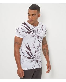 Monochrome Floral Print Roll Sleeve T-Shirt  | New Look