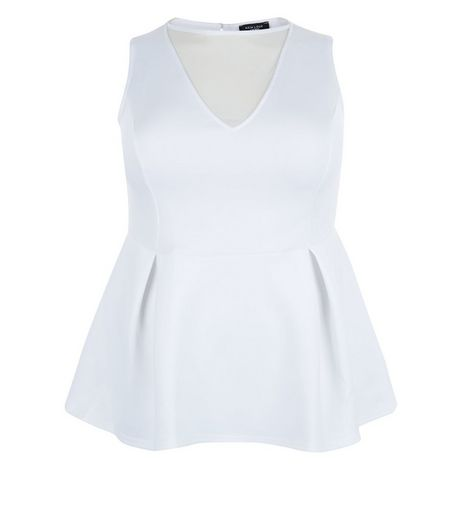 Curves White Mesh Panel Peplum Top | New Look