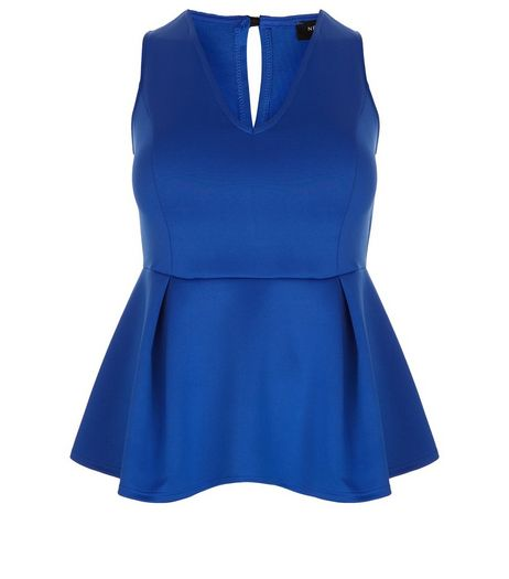 Curves Blue Scuba Peplum Top  | New Look