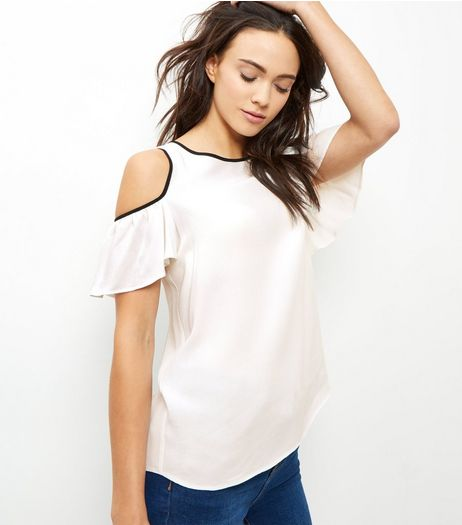 Cream Contrast Trim Cold Shoulder Ruffle Sleeve Top  | New Look