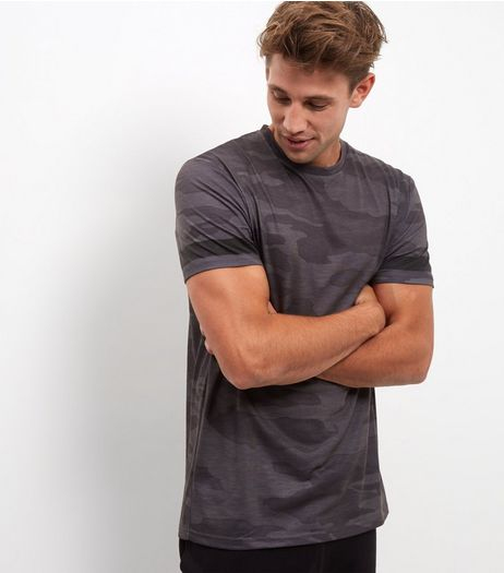 Grey Camo Stripe Sleeve T-Shirt | New Look