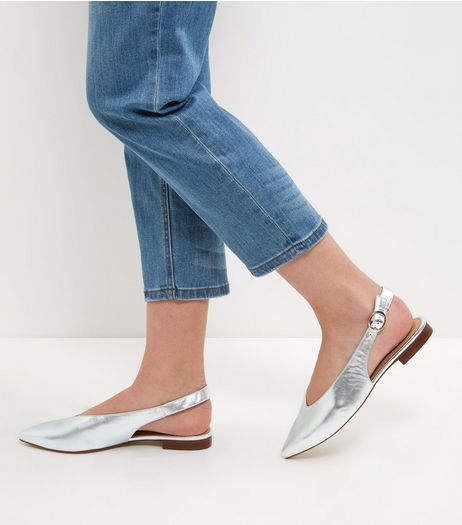 Silver Premium Leather Sling Back Sandals  | New Look