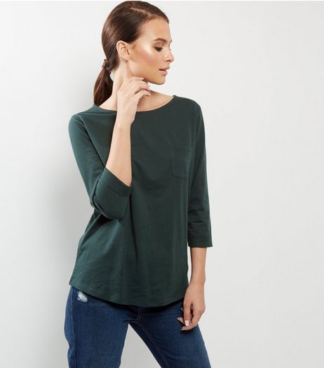 Dark Green 3/4 Sleeve T-Shirt  | New Look