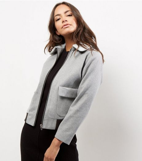 Petite Grey Borg Collar Bomber Jacket | New Look
