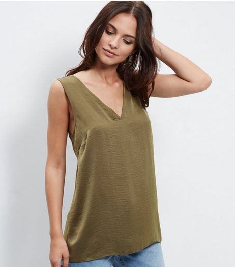 Khaki Sateen V Neck Sleeveless Top  | New Look