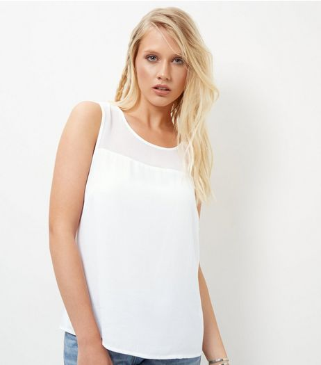 White Sheer Panel Sleeveless Top | New Look