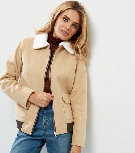Tall Cream Borg Collar Bomber Jacket | New Look