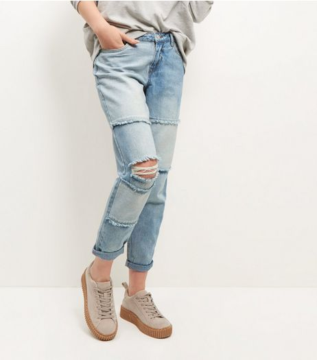 Light Blue Patchwork Ripped Knee Boyfriend Jeans  | New Look