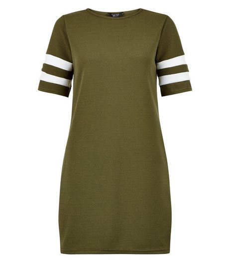 Teens Khaki Stripe Sleeve Tunic Dress | New Look